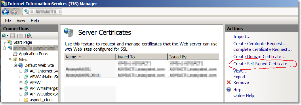IIS7 Server 2008 Renew a self-signed certificate for Certificate ...
