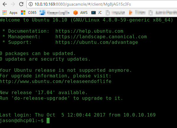 Setup Guacamole Remote Desktop Gateway on Ubuntu with one