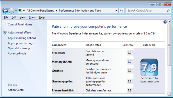 How to find the Windows Experience Index in Windows 10 with