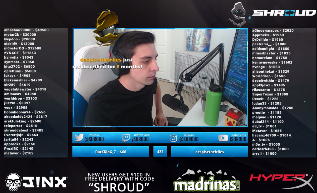 Shroud Twitch Stream Recap for Tuesday 8/14/18 – PUBG R6S IRL